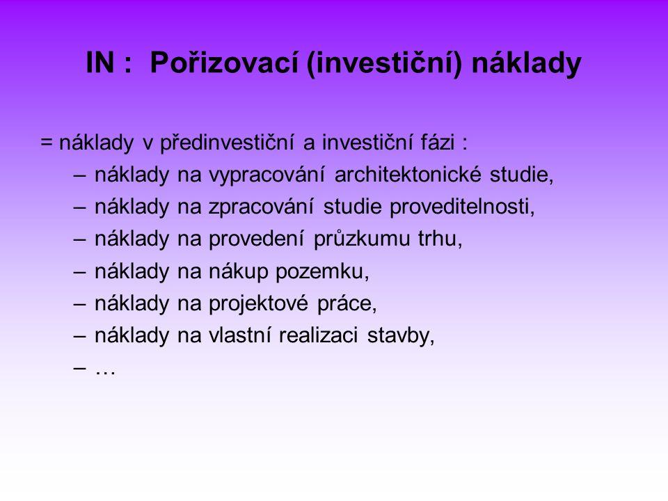 IN : Pořizovací (investiční) náklady = náklady v předinvestiční a investiční fázi : –náklady na vypracování architektonické studie, –náklady na zpraco