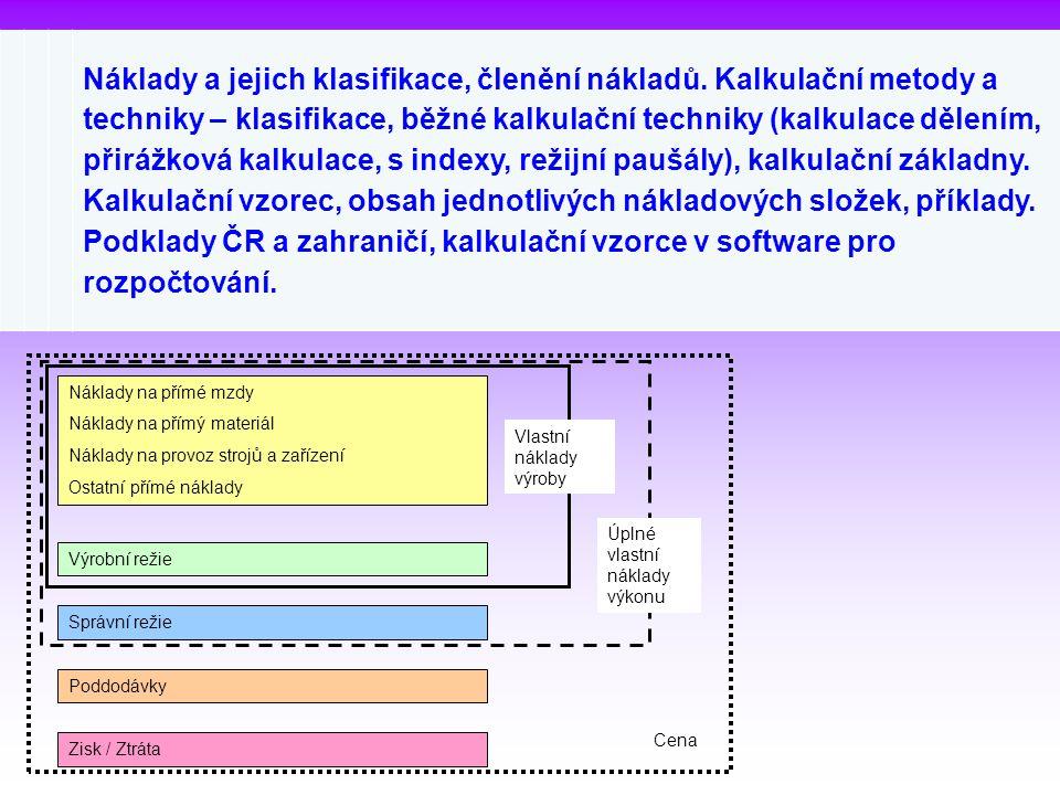 Náklady a jejich klasifikace, členění nákladů. Kalkulační metody a techniky – klasifikace, běžné kalkulační techniky (kalkulace dělením, přirážková ka