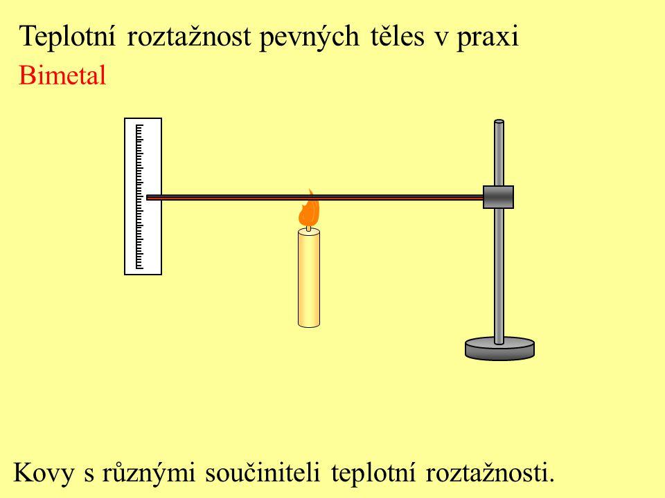 Kovy s různými součiniteli teplotní roztažnosti. Teplotní roztažnost pevných těles v praxi Bimetal