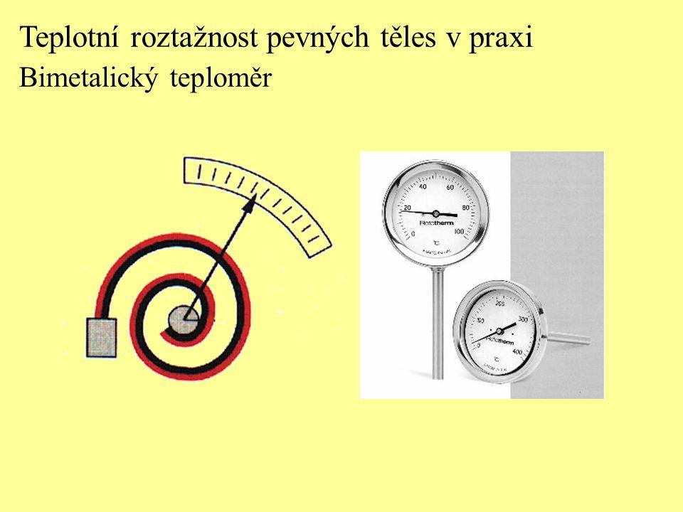 Teplotní roztažnost pevných těles v praxi Bimetalický teploměr