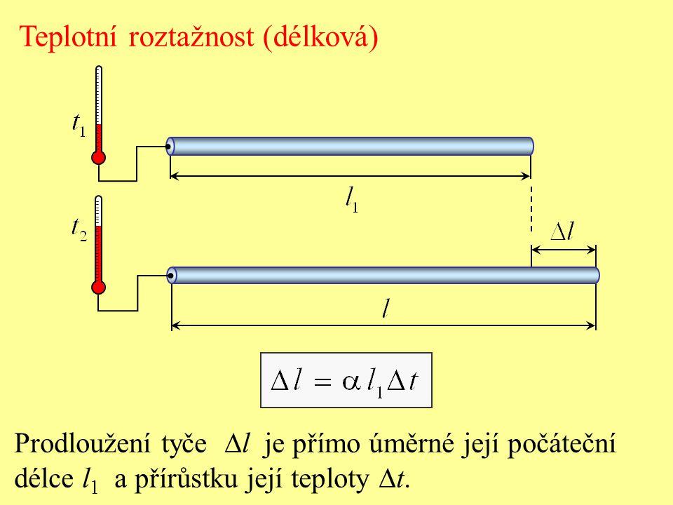 Prodloužení tyče  l je přímo úměrné její počáteční délce l 1 a přírůstku její teploty  t. Teplotní roztažnost (délková)
