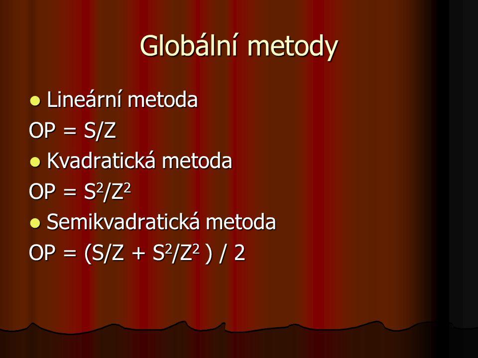 Globální metody Lineární metoda Lineární metoda OP = S/Z Kvadratická metoda Kvadratická metoda OP = S 2 /Z 2 Semikvadratická metoda Semikvadratická me