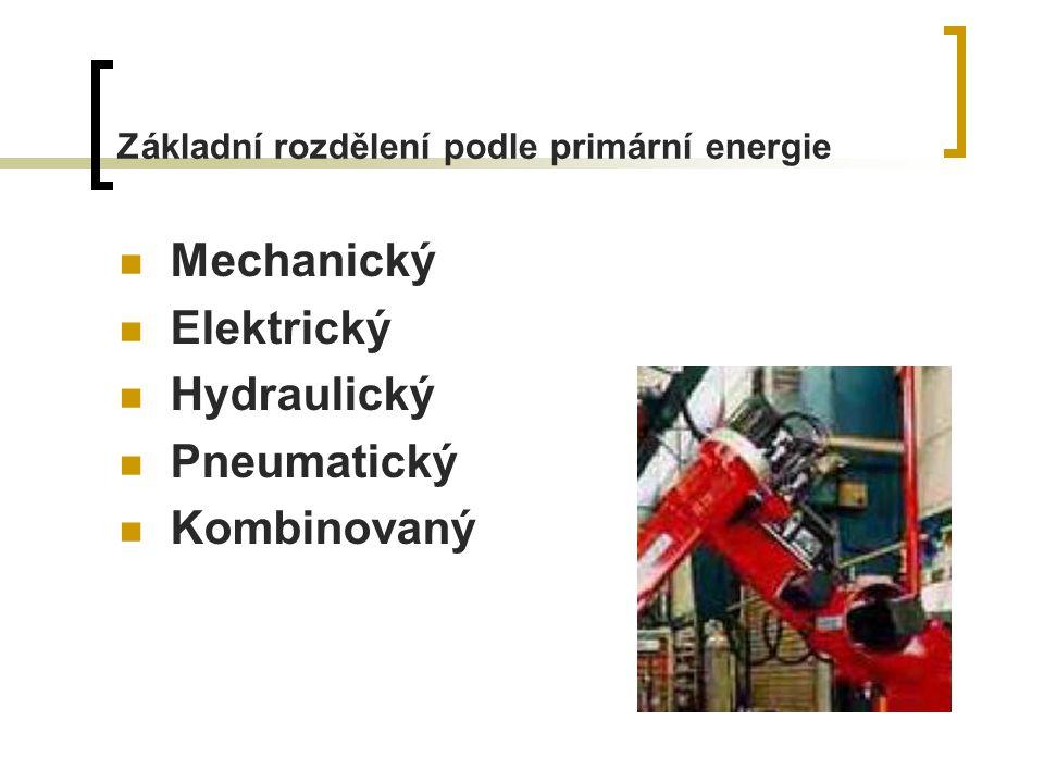 Základní rozdělení podle primární energie Mechanický Elektrický Hydraulický Pneumatický Kombinovaný