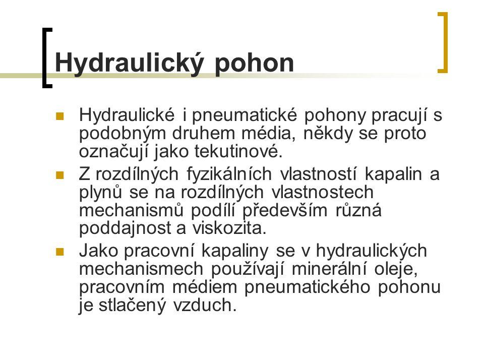 Hydraulický pohon Hydraulické i pneumatické pohony pracují s podobným druhem média, někdy se proto označují jako tekutinové. Z rozdílných fyzikálních
