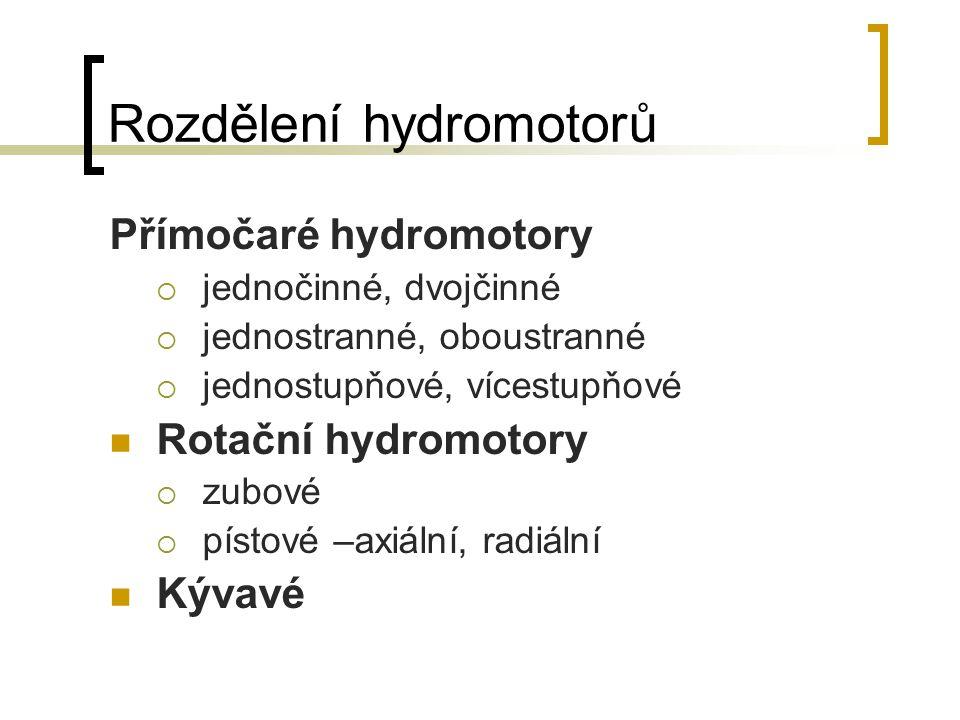 Rozdělení hydromotorů Přímočaré hydromotory  jednočinné, dvojčinné  jednostranné, oboustranné  jednostupňové, vícestupňové Rotační hydromotory  zu
