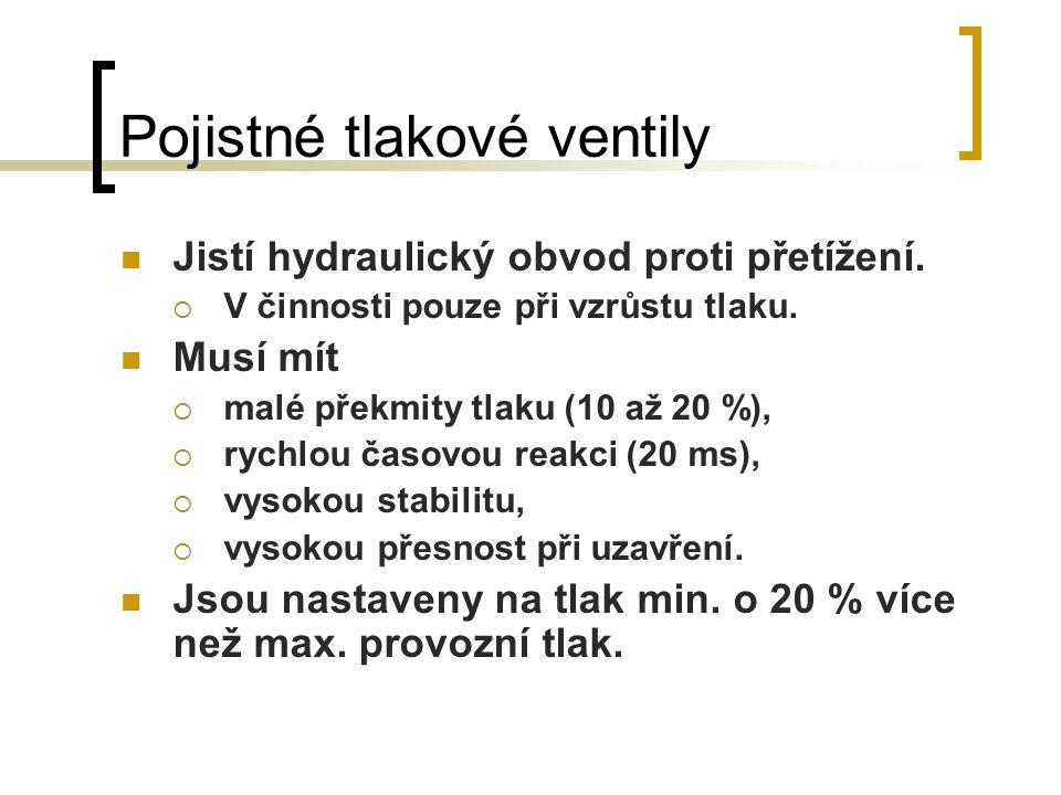 Pojistné tlakové ventily Jistí hydraulický obvod proti přetížení.  V činnosti pouze při vzrůstu tlaku. Musí mít  malé překmity tlaku (10 až 20 %), 
