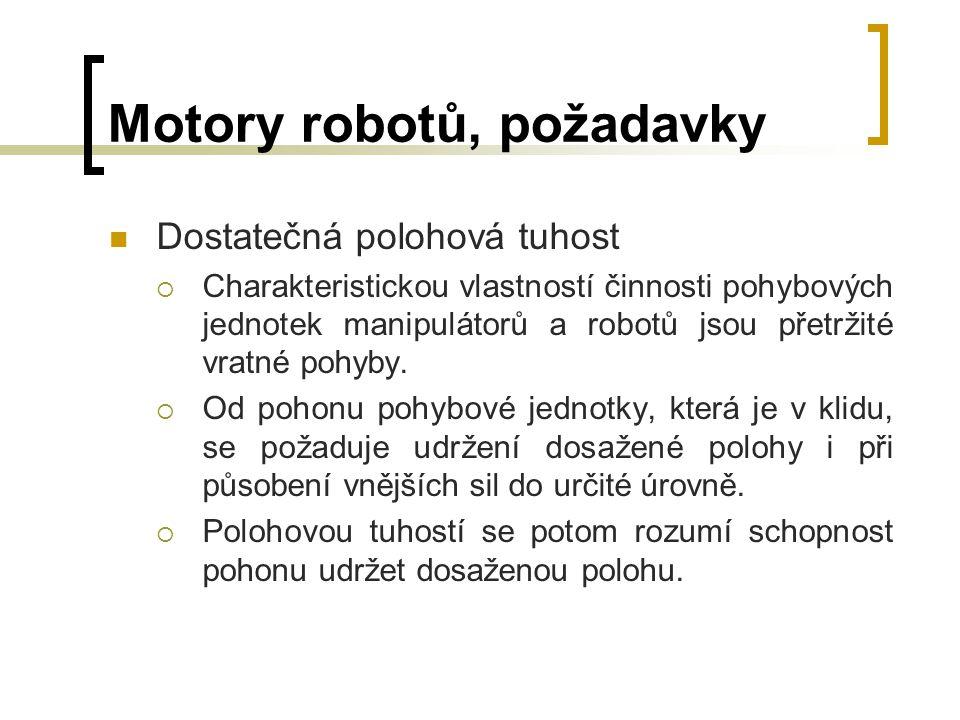 Motory robotů, požadavky Minimální hmotnost  Hmotnost pohonu ovlivňuje celkovou hmotnost pohybové jednotky.