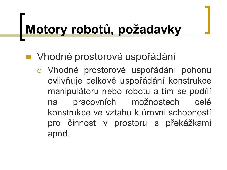 Motory robotů, požadavky Vhodné prostorové uspořádání  Vhodné prostorové uspořádání pohonu ovlivňuje celkové uspořádání konstrukce manipulátoru nebo