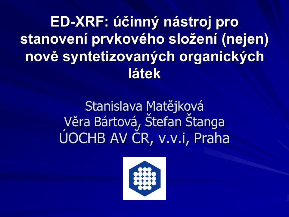 ED-XRF: účinný nástroj pro stanovení prvkového složení (nejen) nově syntetizovaných organických látek Stanislava Matějková Věra Bártová, Štefan Štanga
