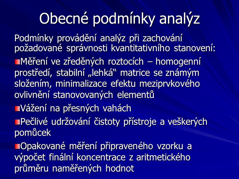 Obecné podmínky analýz Podmínky provádění analýz při zachování požadované správnosti kvantitativního stanovení: Měření ve zředěných roztocích – homoge