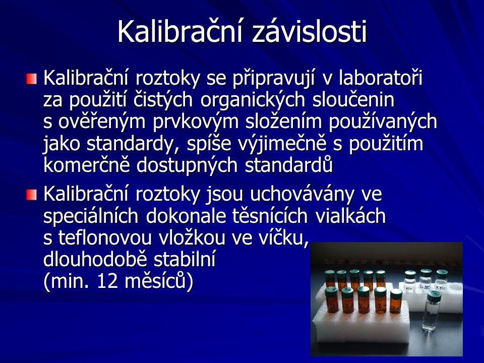 Kalibrační závislosti Kalibrační roztoky se připravují v laboratoři za použití čistých organických sloučenin s ověřeným prvkovým složením používaných