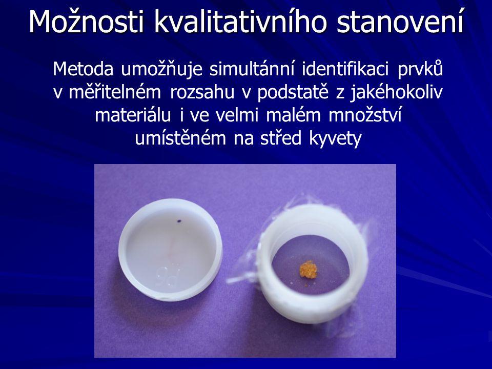 Možnosti kvalitativního stanovení Metoda umožňuje simultánní identifikaci prvků v měřitelném rozsahu v podstatě z jakéhokoliv materiálu i ve velmi mal