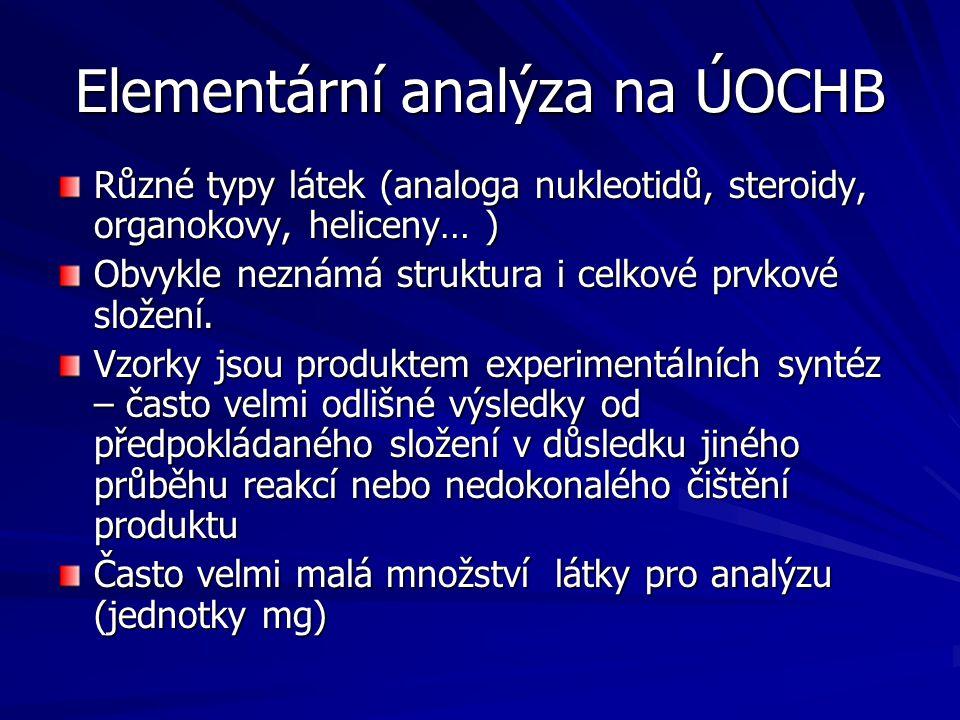 Elementární analýza na ÚOCHB Různé typy látek (analoga nukleotidů, steroidy, organokovy, heliceny… ) Obvykle neznámá struktura i celkové prvkové slože