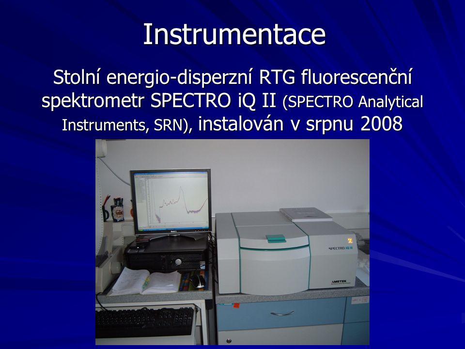 Instrumentace Stolní energio-disperzní RTG fluorescenční spektrometr SPECTRO iQ II (SPECTRO Analytical Instruments, SRN), instalován v srpnu 2008