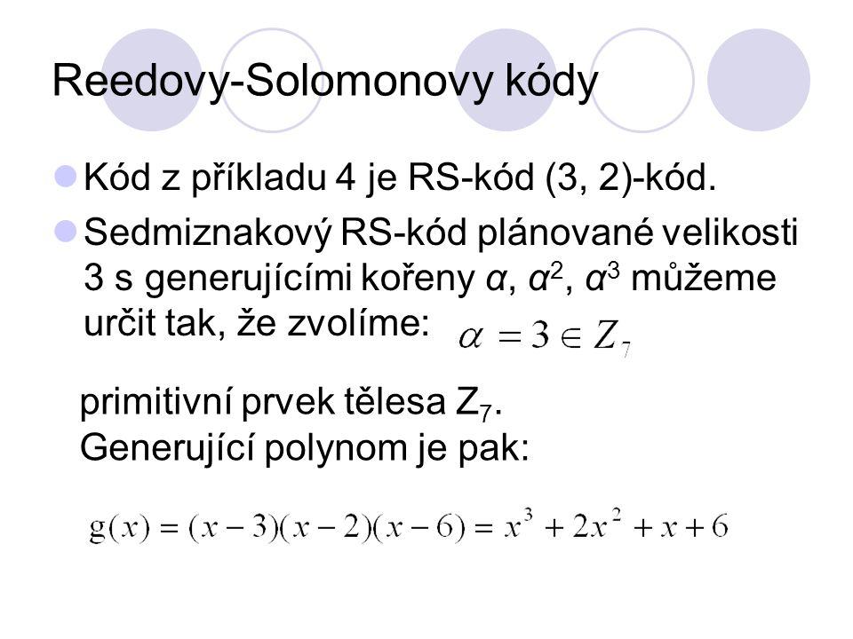 Reedovy-Solomonovy kódy Kód z příkladu 4 je RS-kód (3, 2)-kód. Sedmiznakový RS-kód plánované velikosti 3 s generujícími kořeny α, α 2, α 3 můžeme urči