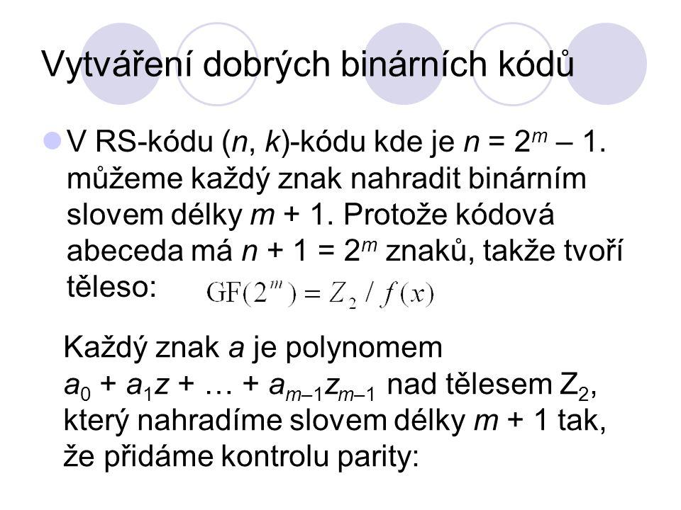 Vytváření dobrých binárních kódů V RS-kódu (n, k)-kódu kde je n = 2 m – 1. můžeme každý znak nahradit binárním slovem délky m + 1. Protože kódová abec