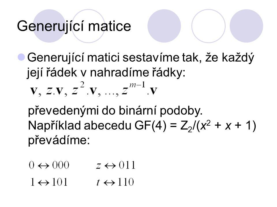 Generující matice Generující matici sestavíme tak, že každý její řádek v nahradíme řádky: převedenými do binární podoby. Například abecedu GF(4) = Z 2