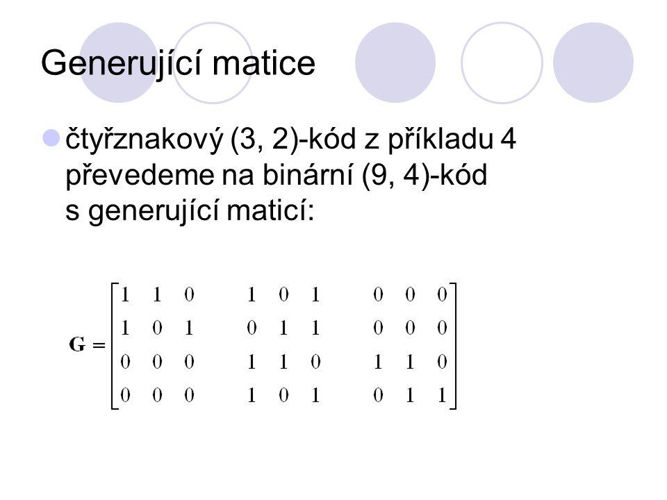 Generující matice čtyřznakový (3, 2)-kód z příkladu 4 převedeme na binární (9, 4)-kód s generující maticí: