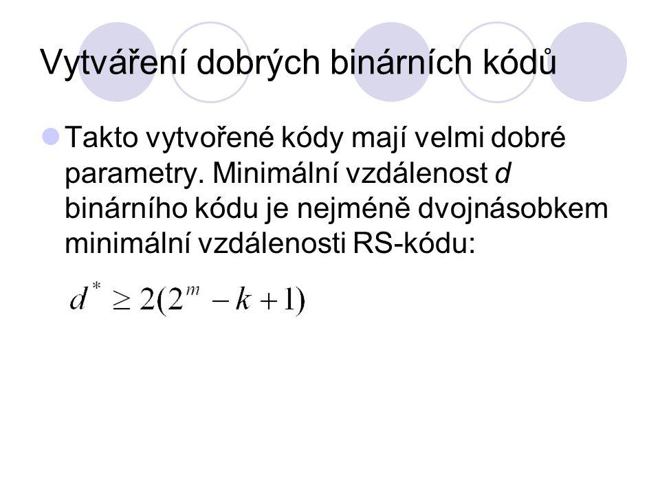 Vytváření dobrých binárních kódů Takto vytvořené kódy mají velmi dobré parametry.