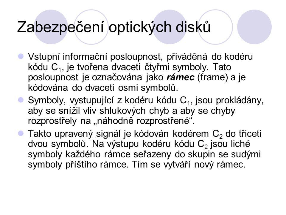 Zabezpečení optických disků Vstupní informační posloupnost, přiváděná do kodéru kódu C 1, je tvořena dvaceti čtyřmi symboly.