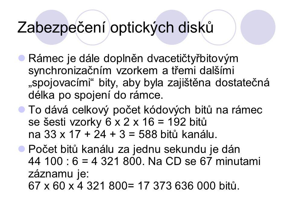 """Zabezpečení optických disků Rámec je dále doplněn dvacetičtyřbitovým synchronizačním vzorkem a třemi dalšími """"spojovacími bity, aby byla zajištěna dostatečná délka po spojení do rámce."""