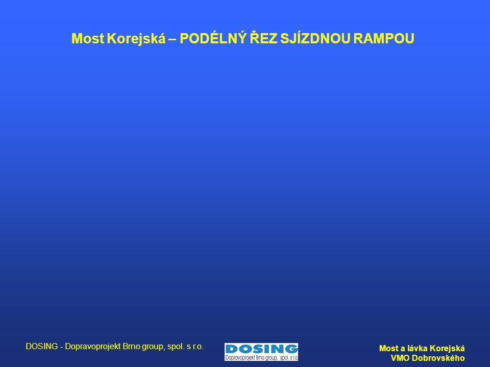 DOSING - Dopravoprojekt Brno group, spol. s r.o. Most a lávka Korejská VMO Dobrovského Most Korejská – PODÉLNÝ ŘEZ SJÍZDNOU RAMPOU