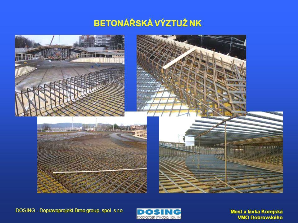 DOSING - Dopravoprojekt Brno group, spol. s r.o. Most a lávka Korejská VMO Dobrovského BETONÁŘSKÁ VÝZTUŽ NK