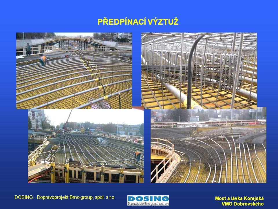 DOSING - Dopravoprojekt Brno group, spol. s r.o. Most a lávka Korejská VMO Dobrovského PŘEDPÍNACÍ VÝZTUŽ