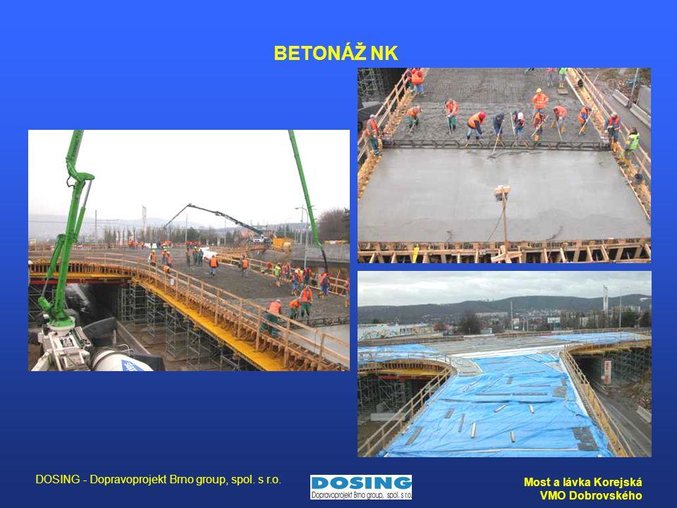 DOSING - Dopravoprojekt Brno group, spol. s r.o. Most a lávka Korejská VMO Dobrovského BETONÁŽ NK