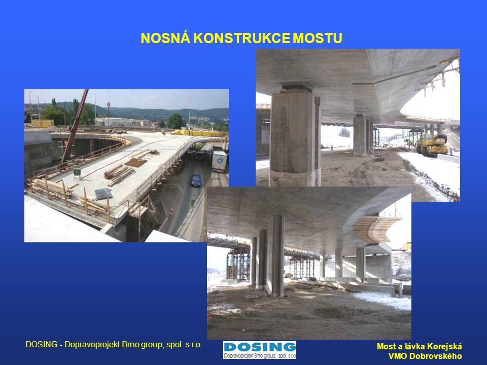 DOSING - Dopravoprojekt Brno group, spol. s r.o. Most a lávka Korejská VMO Dobrovského NOSNÁ KONSTRUKCE MOSTU