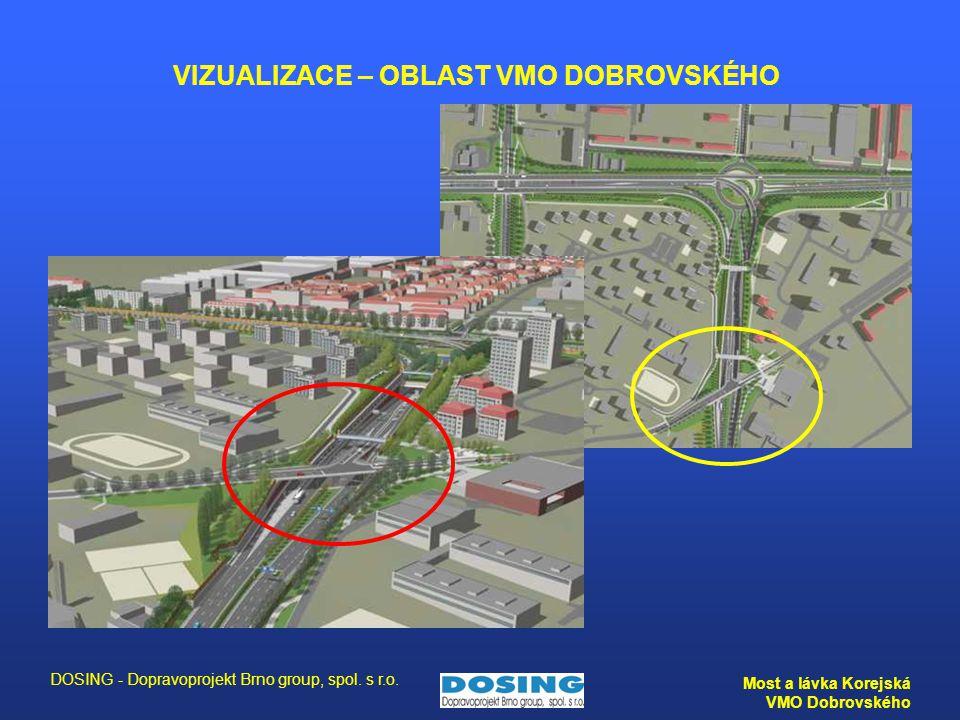 DOSING - Dopravoprojekt Brno group, spol. s r.o. Most a lávka Korejská VMO Dobrovského VIZUALIZACE – OBLAST VMO DOBROVSKÉHO