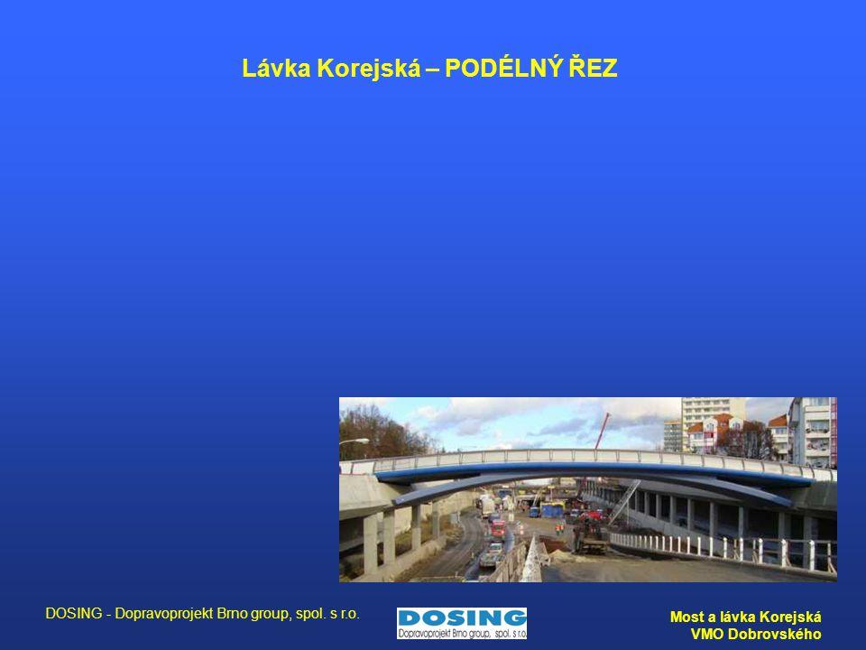 DOSING - Dopravoprojekt Brno group, spol. s r.o. Most a lávka Korejská VMO Dobrovského Lávka Korejská – PODÉLNÝ ŘEZ