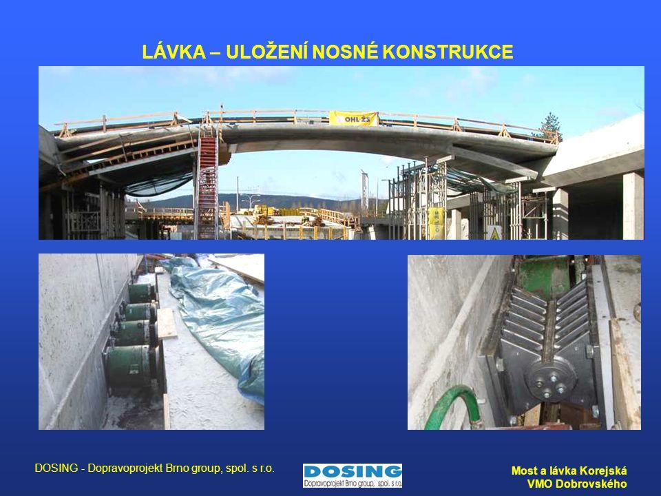 DOSING - Dopravoprojekt Brno group, spol. s r.o. Most a lávka Korejská VMO Dobrovského LÁVKA – ULOŽENÍ NOSNÉ KONSTRUKCE