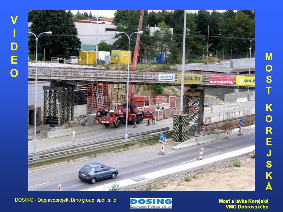 DOSING - Dopravoprojekt Brno group, spol. s r.o. Most a lávka Korejská VMO Dobrovského MOSTKOREJSKÁMOSTKOREJSKÁ VIDEO VIDEO