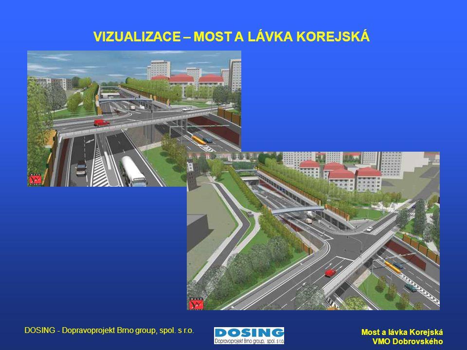 DOSING - Dopravoprojekt Brno group, spol. s r.o. Most a lávka Korejská VMO Dobrovského VIZUALIZACE – MOST A LÁVKA KOREJSKÁ