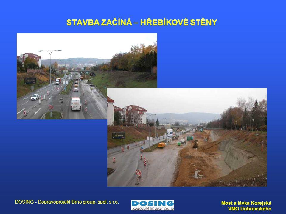 DOSING - Dopravoprojekt Brno group, spol. s r.o. Most a lávka Korejská VMO Dobrovského STAVBA ZAČÍNÁ – HŘEBÍKOVÉ STĚNY