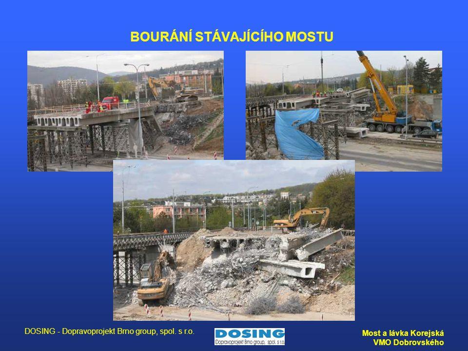 DOSING - Dopravoprojekt Brno group, spol. s r.o. Most a lávka Korejská VMO Dobrovského BOURÁNÍ STÁVAJÍCÍHO MOSTU