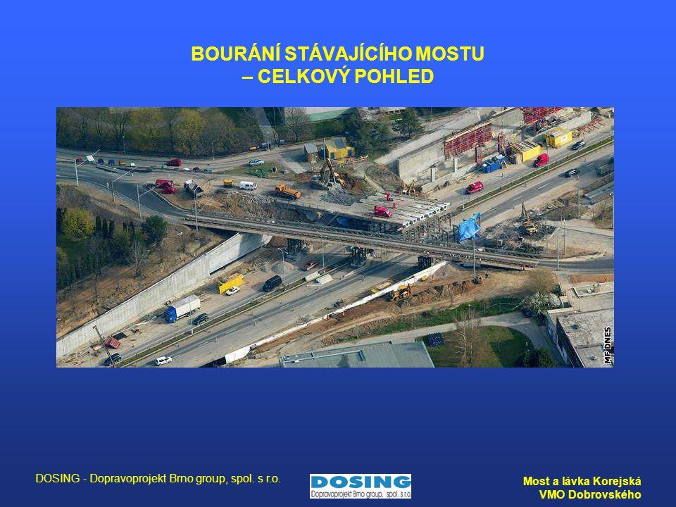 DOSING - Dopravoprojekt Brno group, spol. s r.o. Most a lávka Korejská VMO Dobrovského BOURÁNÍ STÁVAJÍCÍHO MOSTU – CELKOVÝ POHLED