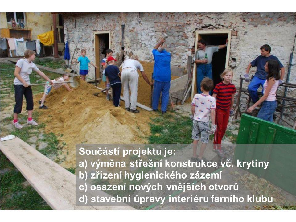 Součástí projektu je: a) výměna střešní konstrukce vč. krytiny b) zřízení hygienického zázemí c) osazení nových vnějších otvorů d) stavební úpravy int