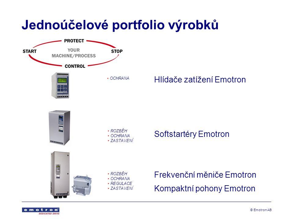© Emotron AB Jednoúčelové portfolio výrobků Hlídače zatížení Emotron Softstartéry Emotron Frekvenční měniče Emotron Kompaktní pohony Emotron OCHRANA ROZBĚH OCHRANA ZASTAVENÍ ROZBĚH OCHRANA REGULACE ZASTAVENÍ