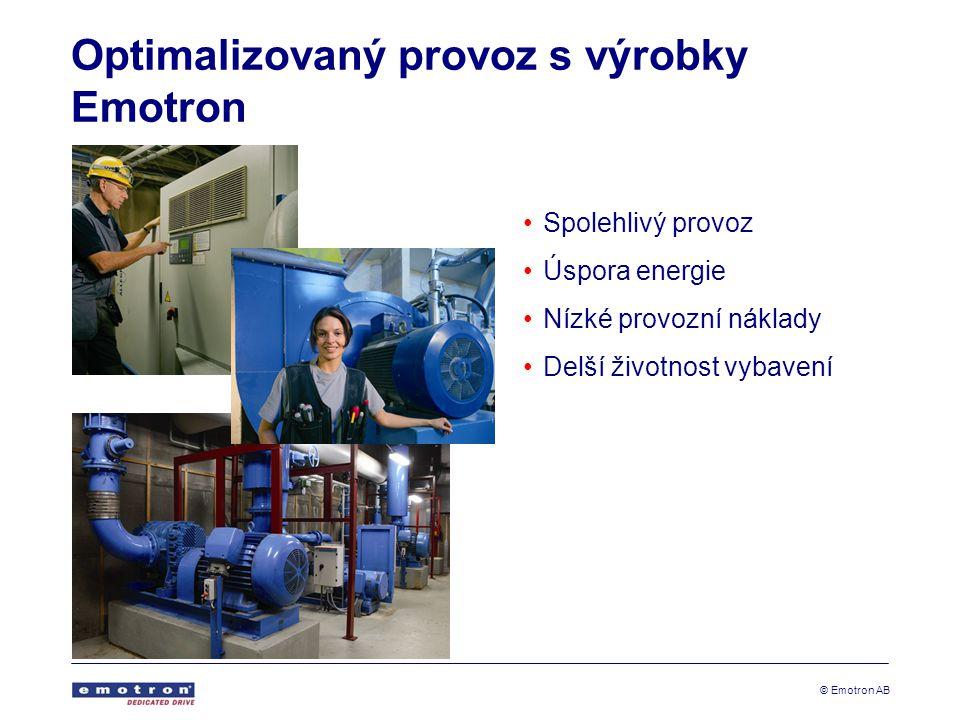 © Emotron AB Optimalizovaný provoz s výrobky Emotron Spolehlivý provoz Úspora energie Nízké provozní náklady Delší životnost vybavení