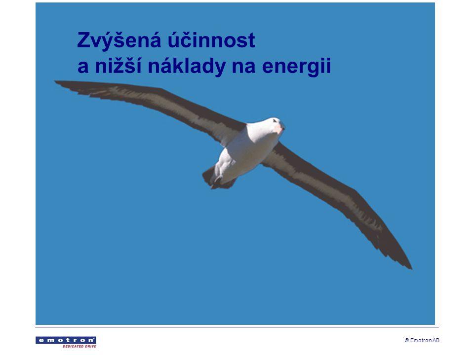 © Emotron AB Chraňte svou aplikaci Ochrana před škodami a prostoji Optimalizovaný provoz Snížená spotřeba energie Méně prostojů a údržby Delší životnost vybavení