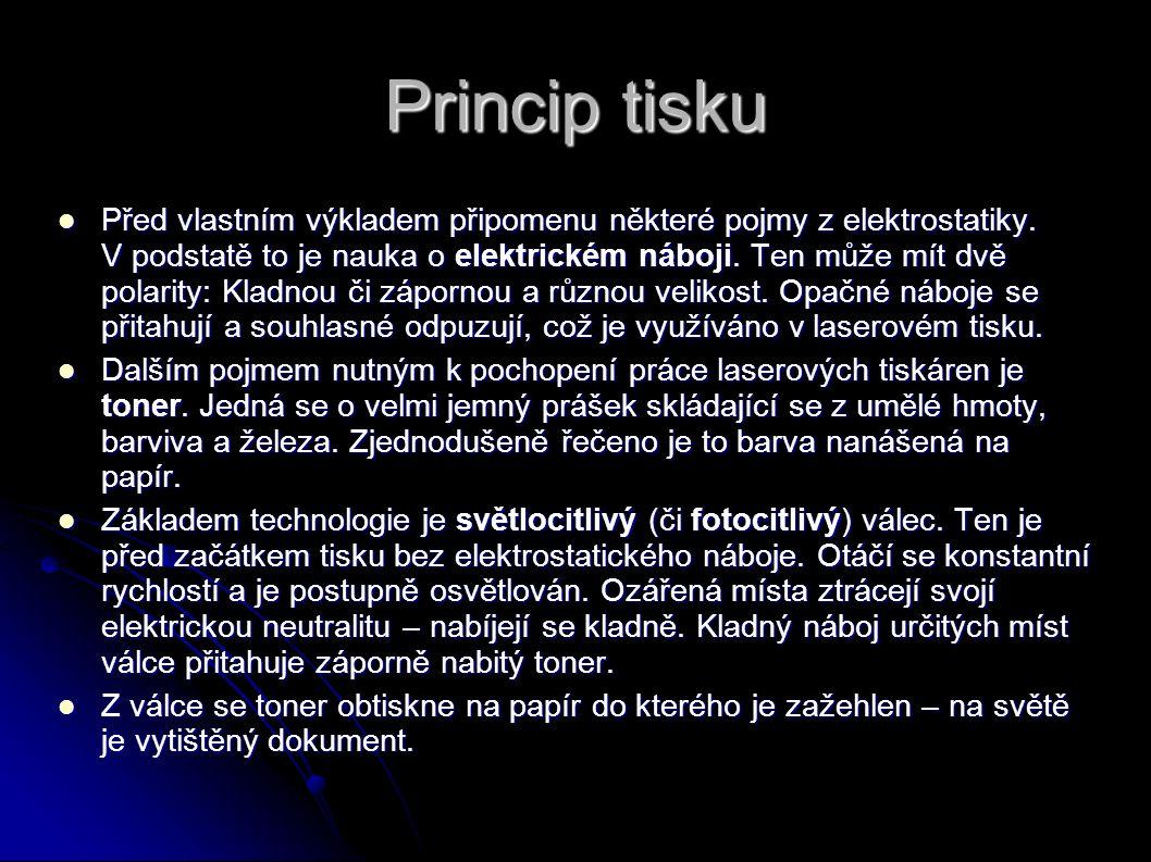 Princip tisku Před vlastním výkladem připomenu některé pojmy z elektrostatiky. V podstatě to je nauka o elektrickém náboji. Ten může mít dvě polarity: