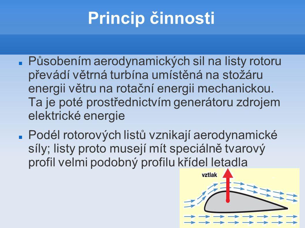 Princip činnosti Působením aerodynamických sil na listy rotoru převádí větrná turbína umístěná na stožáru energii větru na rotační energii mechanickou