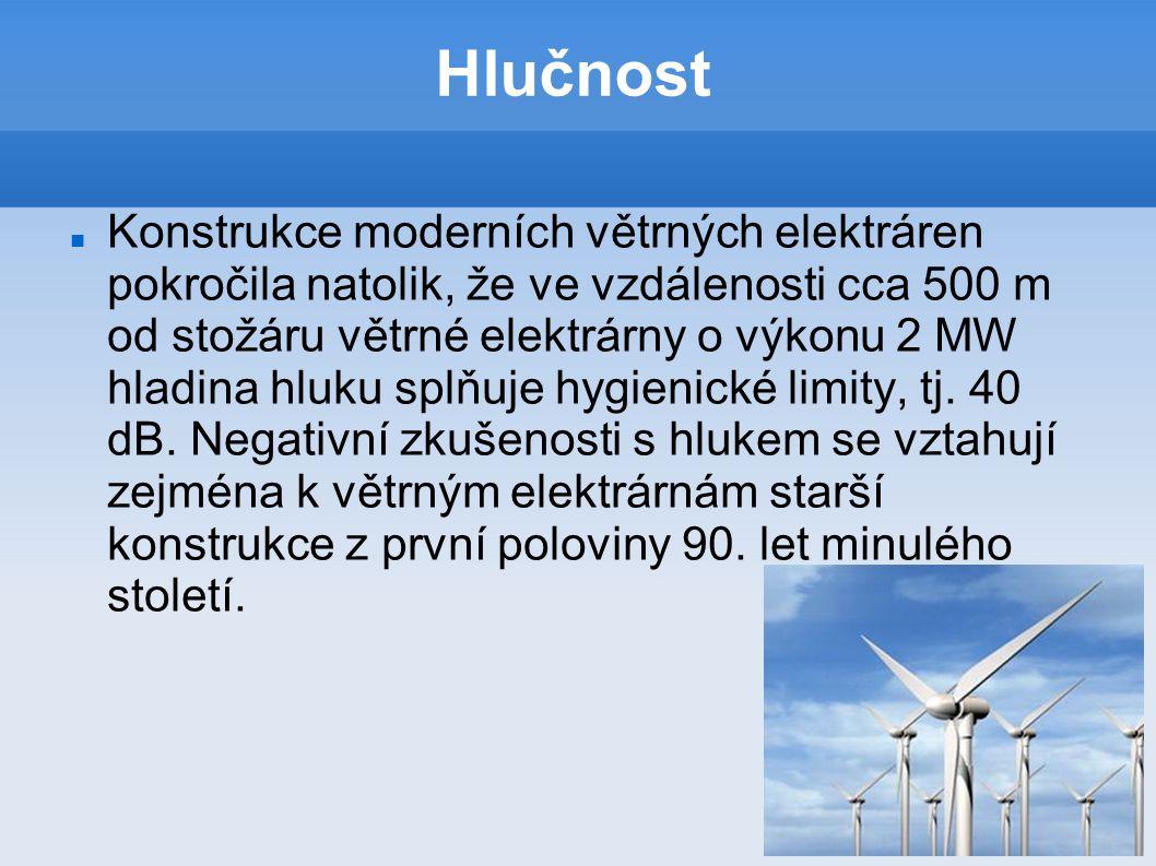 Hlučnost Konstrukce moderních větrných elektráren pokročila natolik, že ve vzdálenosti cca 500 m od stožáru větrné elektrárny o výkonu 2 MW hladina hl
