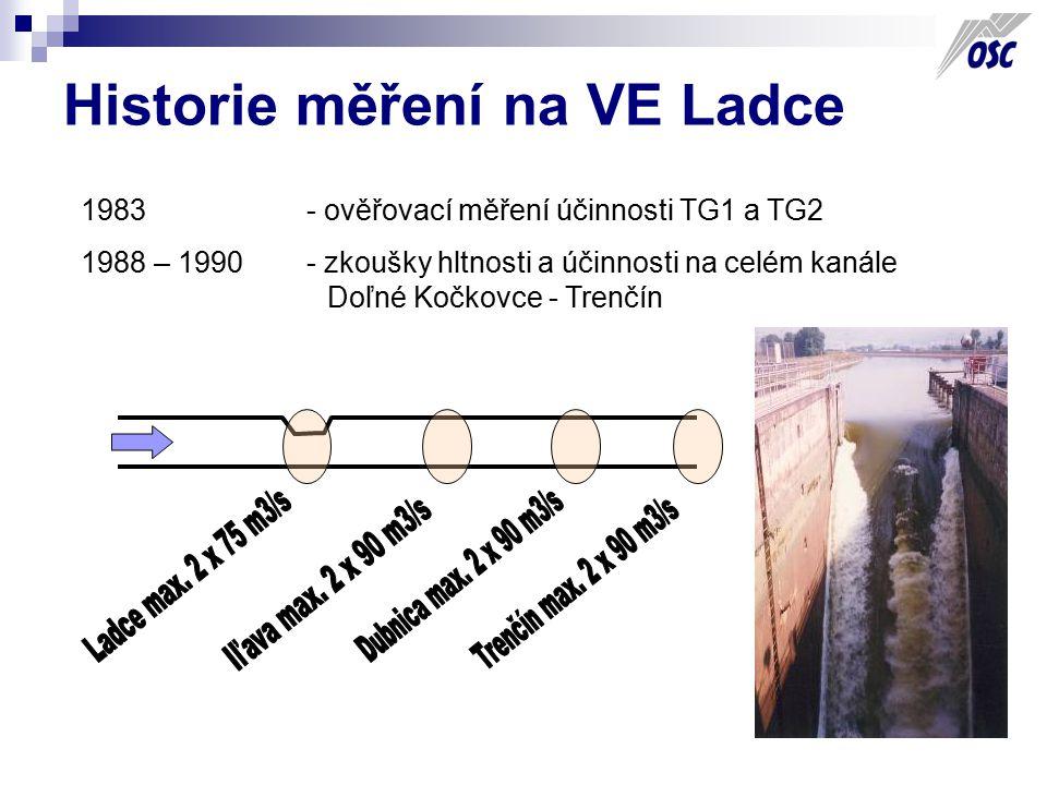 Historie měření na VE Ladce 1983 - ověřovací měření účinnosti TG1 a TG2 1988 – 1990 - zkoušky hltnosti a účinnosti na celém kanále Doľné Kočkovce - Tr