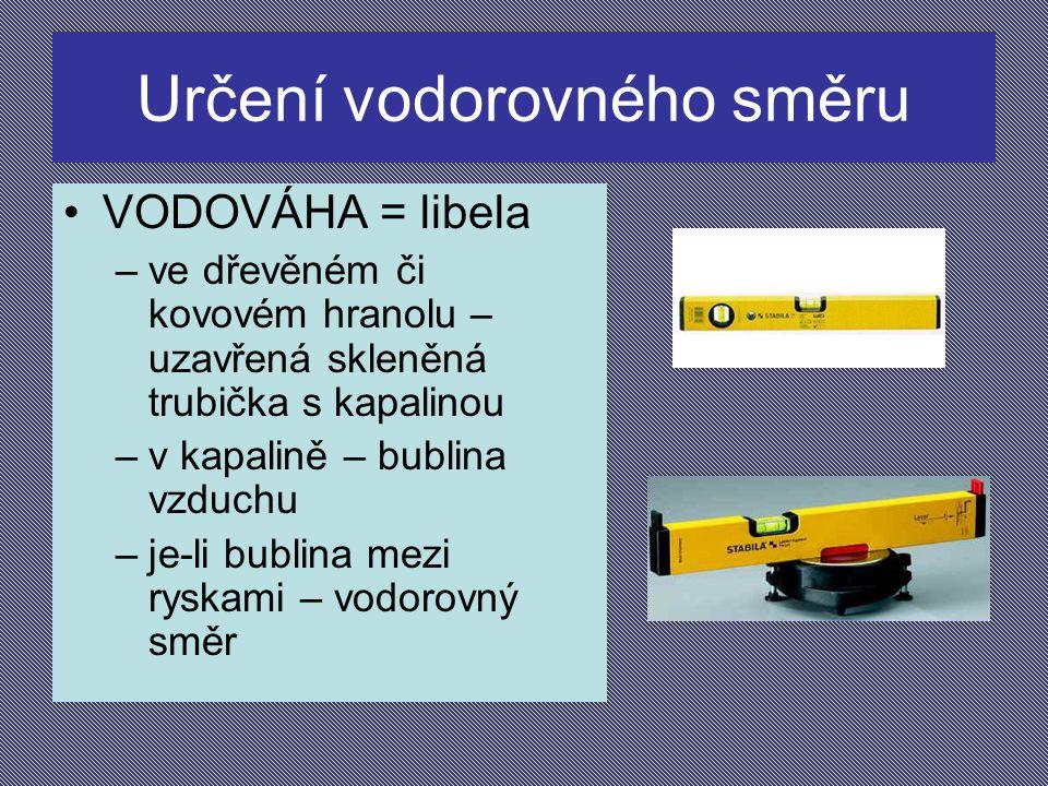 Určení vodorovného směru VODOVÁHA = libela –ve dřevěném či kovovém hranolu – uzavřená skleněná trubička s kapalinou –v kapalině – bublina vzduchu –je-li bublina mezi ryskami – vodorovný směr