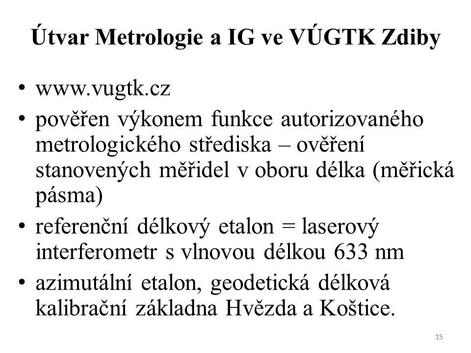 15 Útvar Metrologie a IG ve VÚGTK Zdiby www.vugtk.cz pověřen výkonem funkce autorizovaného metrologického střediska – ověření stanovených měřidel v oboru délka (měřická pásma) referenční délkový etalon = laserový interferometr s vlnovou délkou 633 nm azimutální etalon, geodetická délková kalibrační základna Hvězda a Koštice.