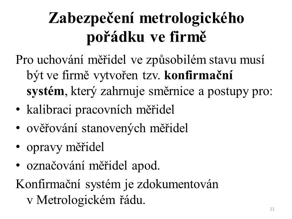 21 Zabezpečení metrologického pořádku ve firmě Pro uchování měřidel ve způsobilém stavu musí být ve firmě vytvořen tzv.