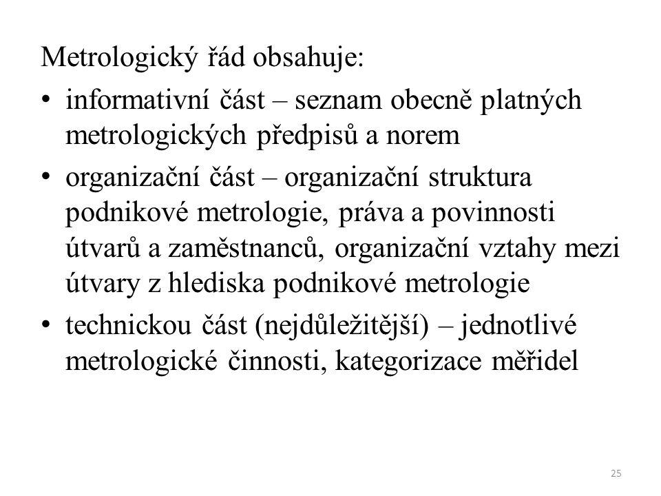 25 Metrologický řád obsahuje: informativní část – seznam obecně platných metrologických předpisů a norem organizační část – organizační struktura podnikové metrologie, práva a povinnosti útvarů a zaměstnanců, organizační vztahy mezi útvary z hlediska podnikové metrologie technickou část (nejdůležitější) – jednotlivé metrologické činnosti, kategorizace měřidel